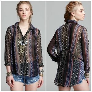 Free People Moonlight Mile Woven Top Black Combo